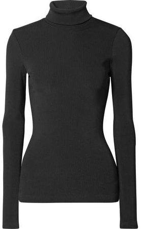 The Rib Stretch Cotton-blend Turtleneck Top - Black