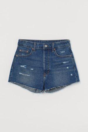 Slim High Denim Shorts - Blue