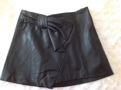ZARA TRAFALUC BLACK SOFT FAUX LEATHER BOW DETAIL SHORT SKIRT ~ Size XS | eBay
