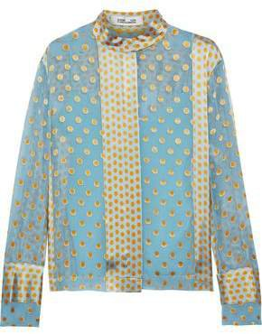 Polka-dot Satin-paneled Chiffon Blouse