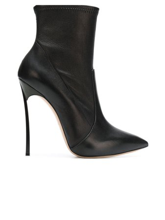 Casadei Black Leather Blade Ankle Boots