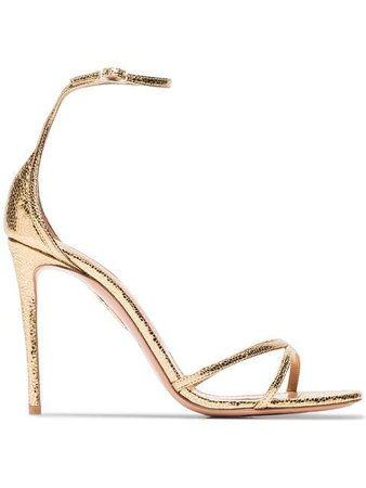 Aquazzura gold Purist 105 metallic leather sandals - Buy Online - Large Selection of Luxury Labels