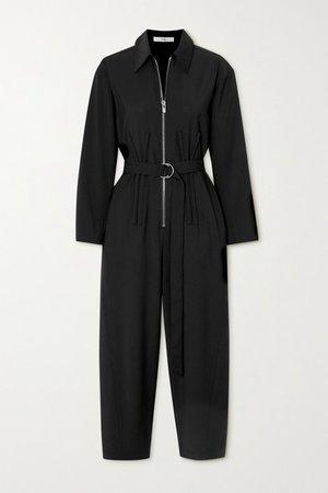 Cropped Belted Crepe Jumpsuit - Black
