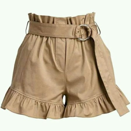 Paper bag waist with ruffle shorts