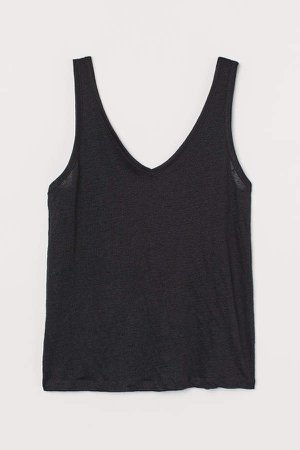 Linen Jersey Tank Top - Black