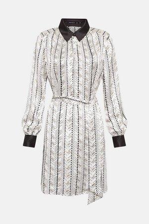 Silk Tie Waist Shirt Dress | Karen Millen