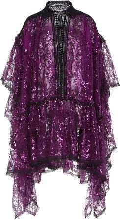 Eyelet-Trim Sequined Mini Dress