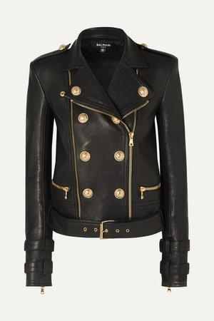 Balmain | Button-embellished leather biker jacket | NET-A-PORTER.COM