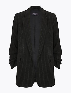 Relaxed Striped Ruched Sleeve Blazer M&S