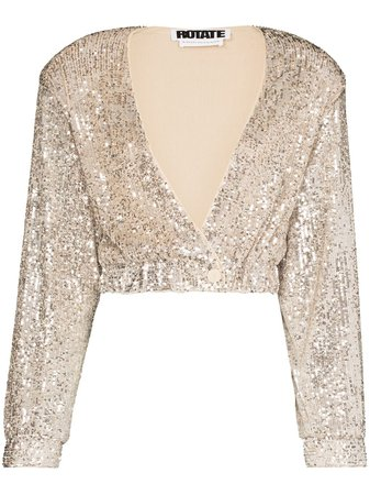 ROTATE Judy sequin-embellished Cropped Jacket - Farfetch