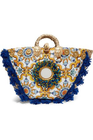 Sicily Bag | Maiolica embellished printed canvas and woven straw tote | NET-A-PORTER.COM