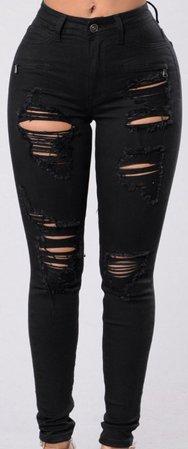 Fashion Nova black ripped jeans