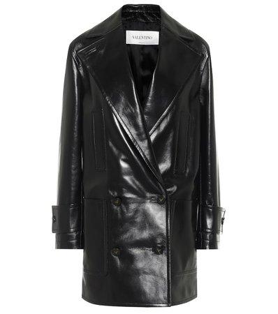 Double-Breasted Leather Coat - Valentino   Mytheresa