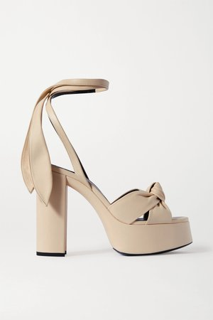 Cream Bianca knotted leather platform sandals | SAINT LAURENT | NET-A-PORTER