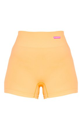 Peach Rubber Badge Basic Seamless Booty Shorts   PrettyLittleThing CA