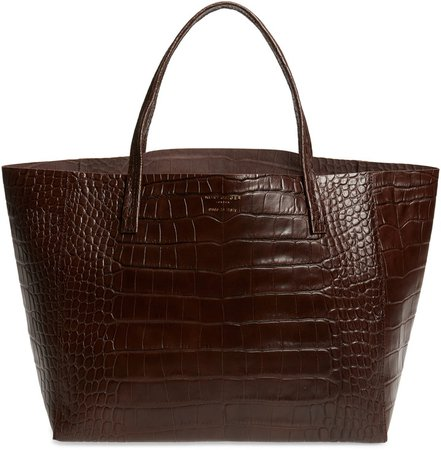 Violet Croc Embossed Leather Tote