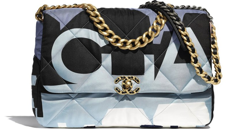 CHANEL 19 Maxi Flap Bag, printed silk, gold-tone, silver-tone & ruthenium-finish metal, black, blue, pink & white - CHANEL