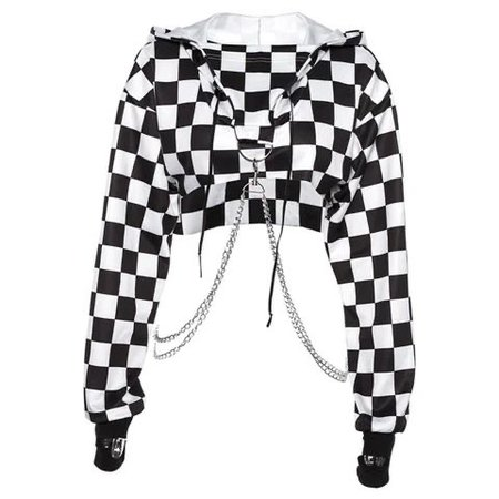 Checker Black and White Jacket with Chain