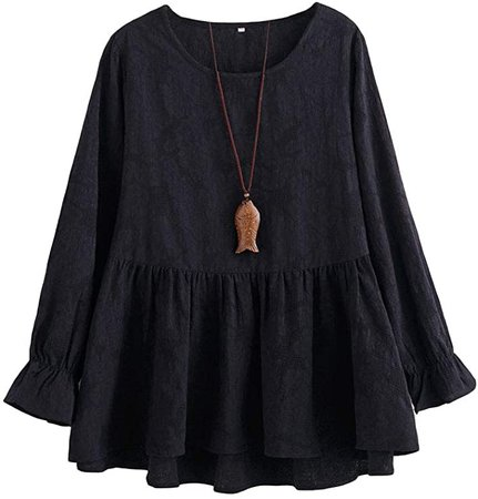 Minibee Women's Cotton Peplum Tunics Dress Ruffle Hem Babydoll Tops Plus Size Blouse for Women at Amazon Women's Clothing store
