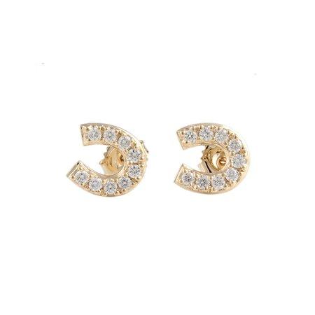 gold horseshoe earrings - Google Search