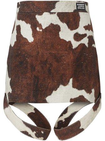 Burberry Strap Detail Animal Print Cotton Linen Mini Skirt - Farfetch