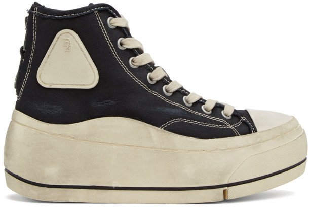Black and Off-White High-Top Sneakers