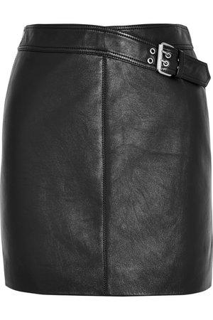 Black Buckled leather mini skirt | SAINT LAURENT | NET-A-PORTER