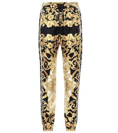 Printed silk twill trackpants