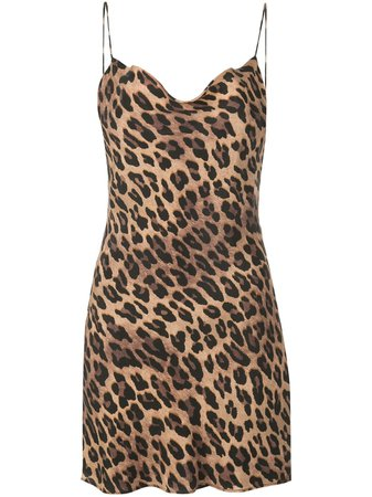 Brown Alice+Olivia Harmony Leopard Slip Dress | Farfetch.com