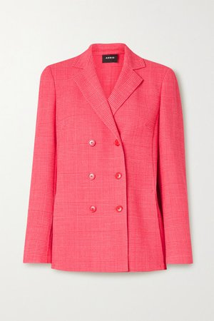 Double-breasted Checked Wool-blend Blazer - Bubblegum