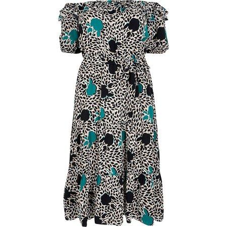 Plus green print bardot frill midi dress | River Island