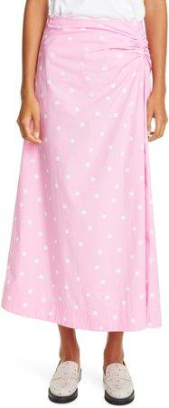 Polka Dot Print Organic Cotton Midi Skirt