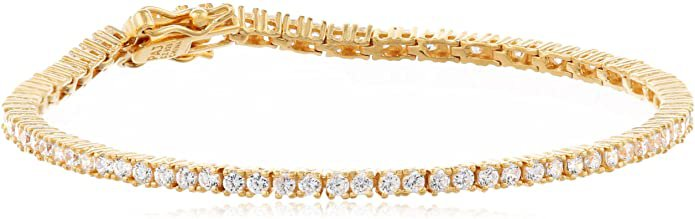 """Amazon Essentials Yellow Gold Plated Sterling Silver Round Cut Cubic Zirconia Tennis Bracelet (2mm), 7"""": Jewelry"""