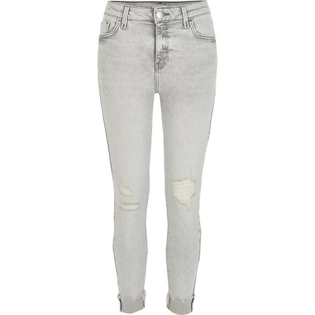 Light grey rip Amelie mid rise skinny jeans   River Island