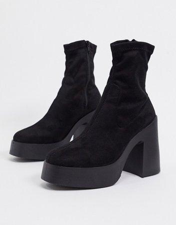 ASOS DESIGN Elsie high heeled sock boot in black | ASOS