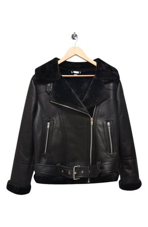 Topshop Faux Fur & Faux Leather Moto Jacket | Nordstrom