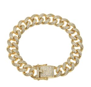 PRE ORDER| GOLD LARGE CRYSTAL CUBAN LINK CHOKER – AmyShehab