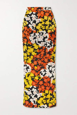 Floral-print Silk-crepe Maxi Skirt - Orange