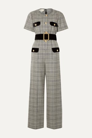 Gray Belted velvet-trimmed Prince of Wales checked wool jumpsuit | Gucci | NET-A-PORTER