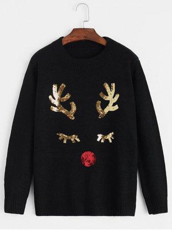 Christmas Sequined Elk Crew Neck Sweater In BLACK   ZAFUL
