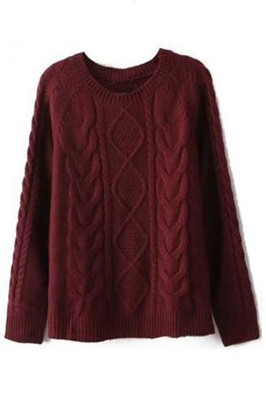Cable-Knit Sweater (Burgundy)