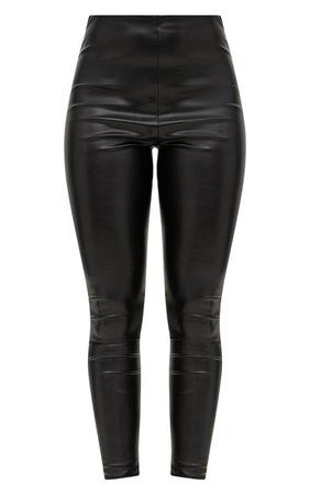 Black Faux Leather High Waisted Leggings   PrettyLittleThing