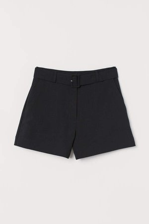Shorts with Belt - Black
