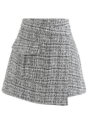 Tweed Asymmetric Mini Skirt in Black - Retro, Indie and Unique Fashion