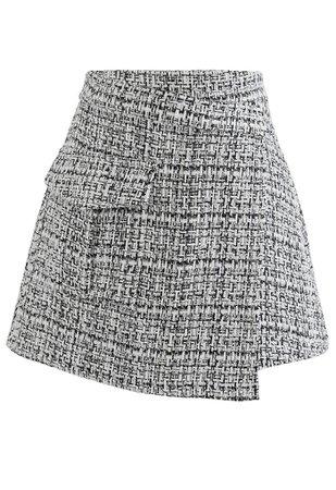 Tweed Asymmetric Mini Skirt in Black - Retro, Indie and Unique Fashion