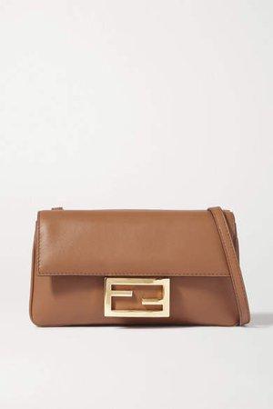 Duo Baguette Leather Shoulder Bag - Brown