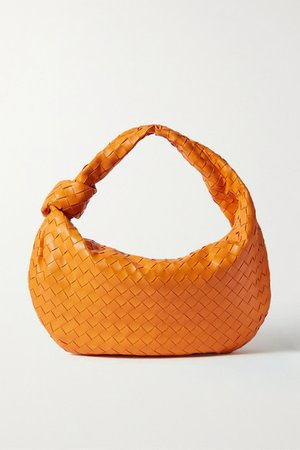 Jodie Small Knotted Intrecciato Leather Tote - Orange