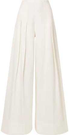 Arcello Pleated Canvas Wide-leg Pants - Off-white