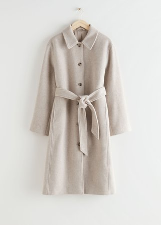 Voluminous Belted Single Breasted Coat - Light Beige - Woolcoats - & Other Stories