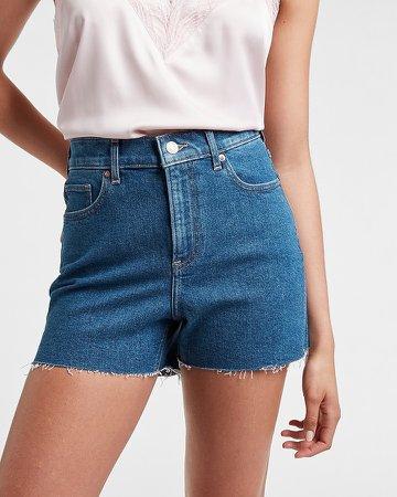 High Waisted Raw Hem Jean Shorts